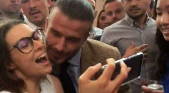 WOMANWORD being kissed by the awesome David Beckham